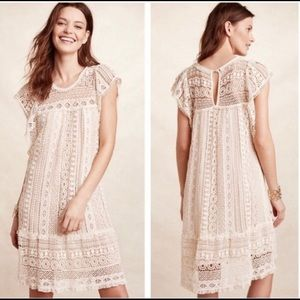 Maeve by Anthropologie Crochet Cream Dress